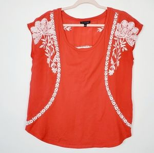 Anthropologie One September Embroideted Top
